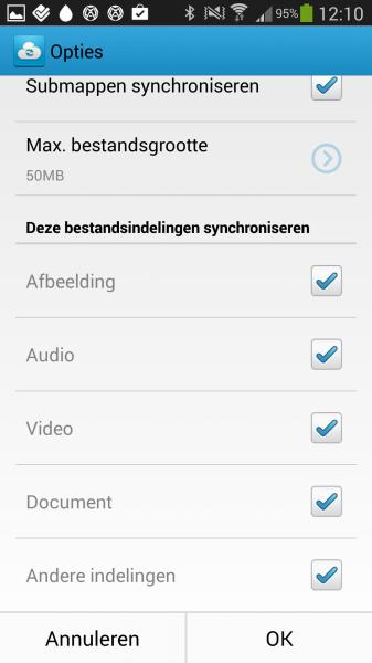 Android: iOS: Geef specifiek aan wat je wel en niet wilt Synchroniseren