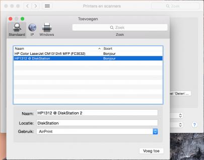 Zo ziet de AirPrint printer er op Mac OS X uit.