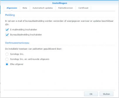 Screenshot van beveiligingsniveau's