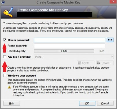Key file aanmaken in Keepass